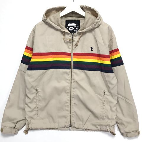 [S] A Bathing Ape Bape Vintage FOOTSOLDIER RAINBOW NYLON HOODED JACKET