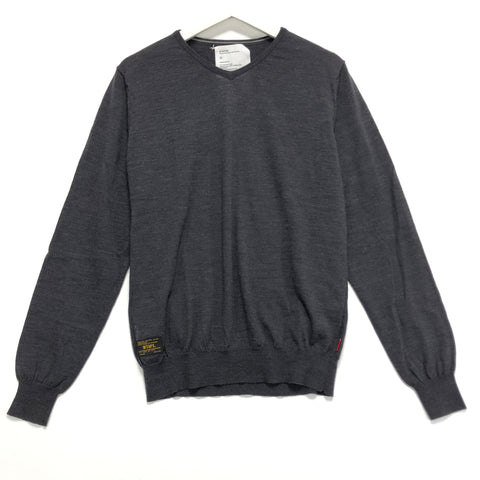 [XL]  WTaps Crew Wool V Neck Sweater Grey