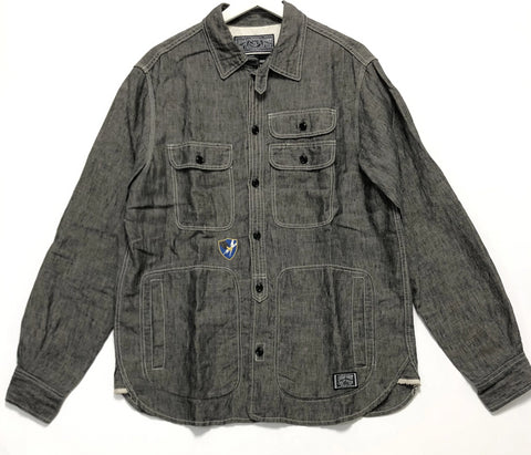 [M] Neighborhood Wolves Linen Chambray Shirt L/S Black