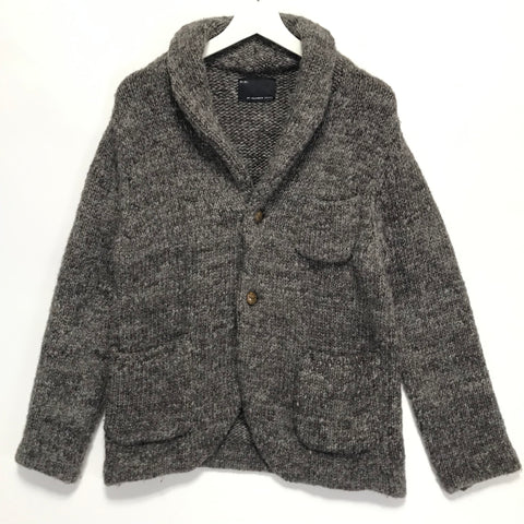 [L] Number Nine Wool Knit Shawl Collar Sweater Jacket Brown