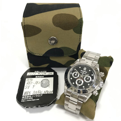 A Bathing Ape Bape Type 3 'Daytona' Bapex Watch Silver/Black