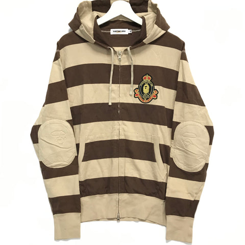 [M] A Bathing Ape Bape Crest Striped Hoodie Brown