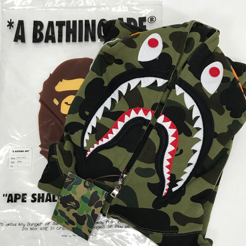 [L] DS! A Bathing Ape Bape 1st Camo Shark WGM Full Zip Hoodie