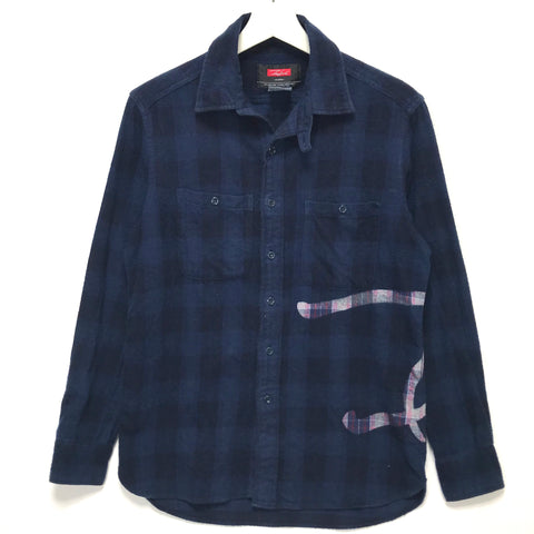 [M] Futura Laboratories Overdye Flannel Check Shirt Indigo