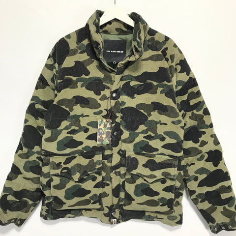 [M] DS! A Bathing Ape Bape 1st Camo Corduroy Down Puffer Jacket