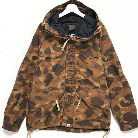 [L] A Bathing Ape Bape Camo Snowboard Jacket Brown
