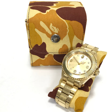 A Bathing Ape Bape Type 2 Sarumariner Bapex Watch Gold