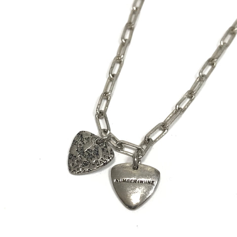 Number Nine Guitar Pick Silver Necklace