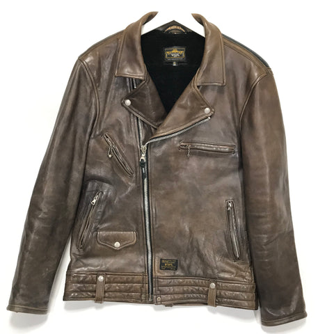 [XL] WTaps 11AW Riders Leather / Sheepskin Jacket Brown