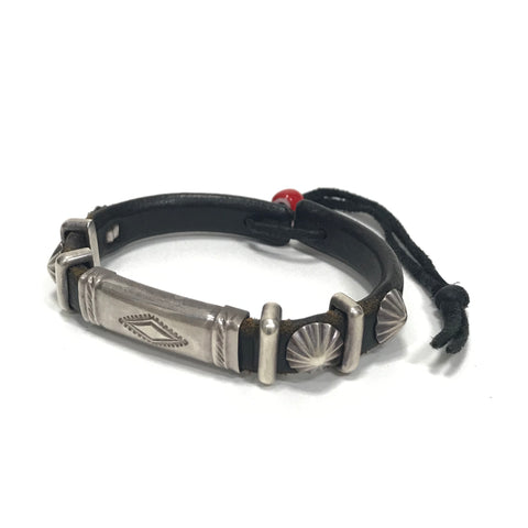 Goro's Leather Double Silver Concho Bracelet Black ゴローズ Wカンブレス 黒