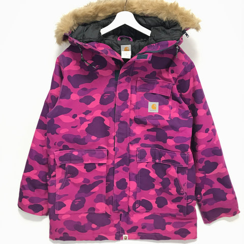 [M] A Bathing Ape Bape Carhartt N-3B Color Camo Jacket Purple