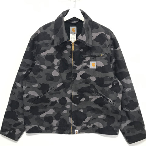 [M] A Bathing Ape Bape Carhartt Color Camo Work Jacket Black