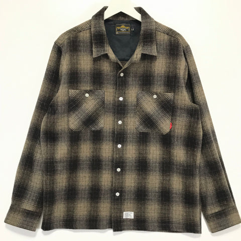 [L] WTaps 07AW Wool Flannel Union L/S Shirt Brown