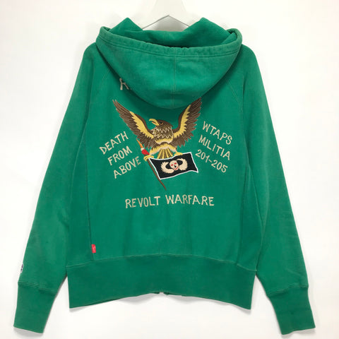 [L] WTaps 08AW Hell Week Souvenir Zip Up Hoodie Green