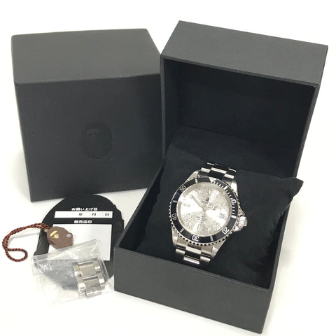 A Bathing Ape Bape Line 1st Camo Type 1 Bapex Watch Silver