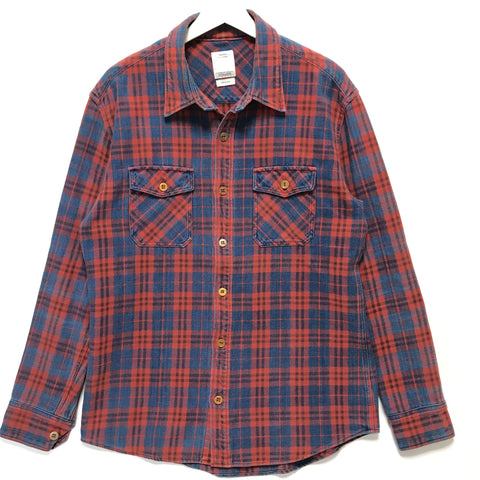 [L] VISVIM 14AW Black Elk Indigo Check Flannel Shirt