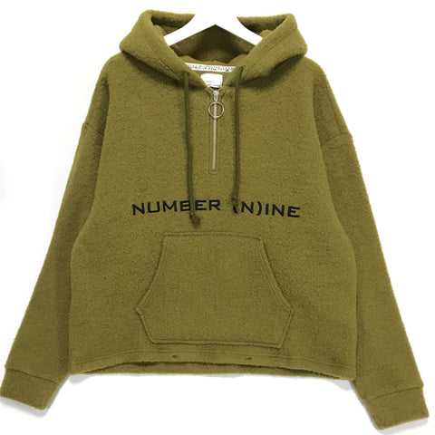 [L]  Number Nine Half Zip Fleece Pullover Hoodie Jacket Olive