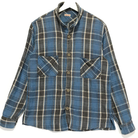 [M]  Kapital Mock Neck Flannel L/S Shirt Blue