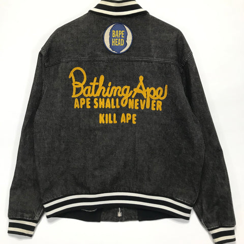 [L] A Bathing Ape Bape Vintage Bape Heads Denim Varsity Jacket