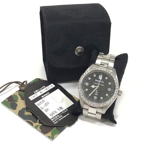 A Bathing Ape Bape Swarovski Crystal Automatic Bapex Big Face Watch Silver