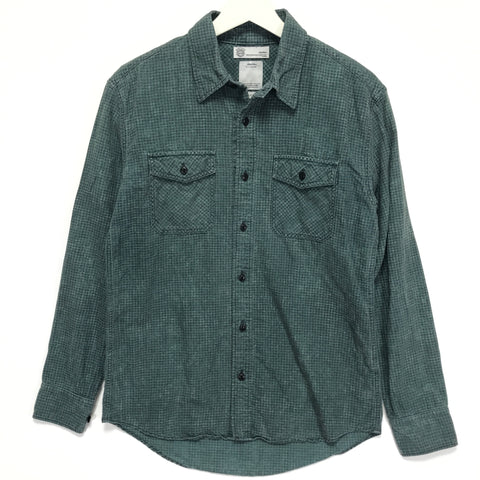 [S] Visvim 13AW Black Elk Houndstooth Cotton / Linen Flannel Shirt Green