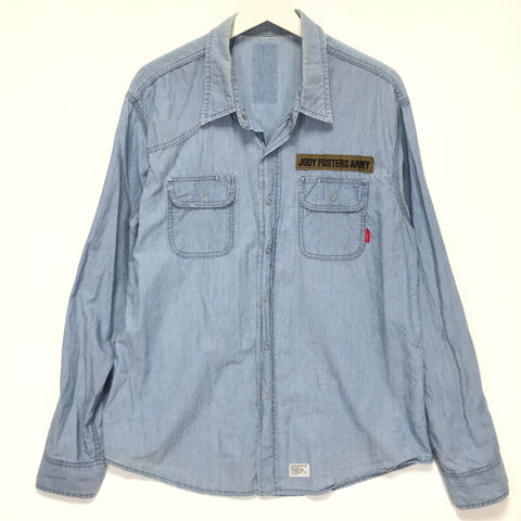 [M] WTAPS 04SS Jody Foster's Army Cell L/S Chambray Shirt Blue