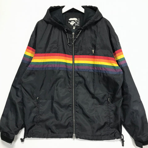 [L] A Bathing Ape Bape Vintage FOOTSOLDIER RAINBOW NYLON HOODED JACKET