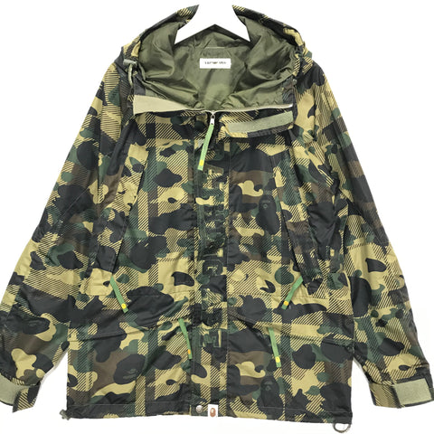 [L] A Bathing Ape Bape Plaid Camo Snowboard Jacket Green