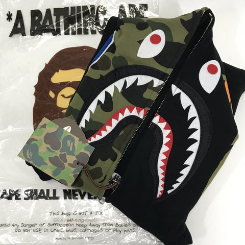 [M] DS! A Bathing Ape Bape WGM 1st Camo Sleeve Shark Full Zip Hoodie