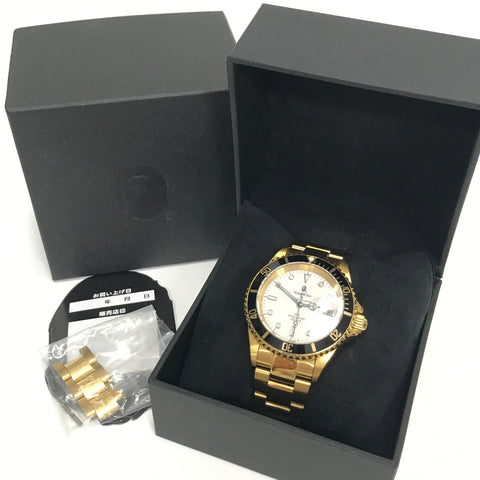 A Bathing Ape Bape Type 1 Bapex Watch Gold