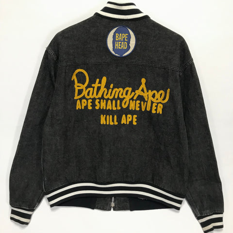 [M] A Bathing Ape Bape Vintage Bape Heads Denim Varsity Jacket