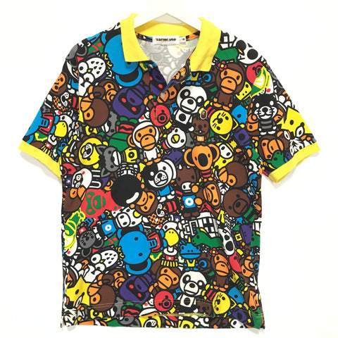 [M] A Bathing Ape Bape Baby Milo Animal Safari Polo Shirt