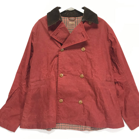 [XL] Kapital Waxed Cotton Peacoat Jacket Red