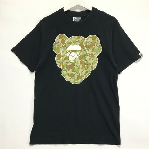 [M] A Bathing Ape x Kaws Cloud Camo Bape Head Logo Tee Black