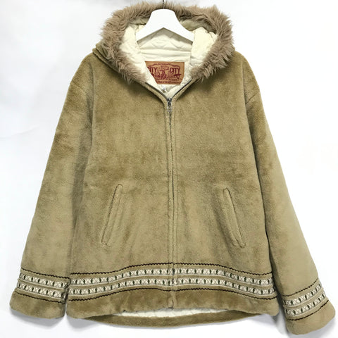 [XL] A Bathing Ape Bape Foot Soldier Fleece Eskimo Jacket Beige