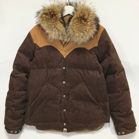 [M] A Bathing Ape Bape Fur Collar Corduroy Down Jacket