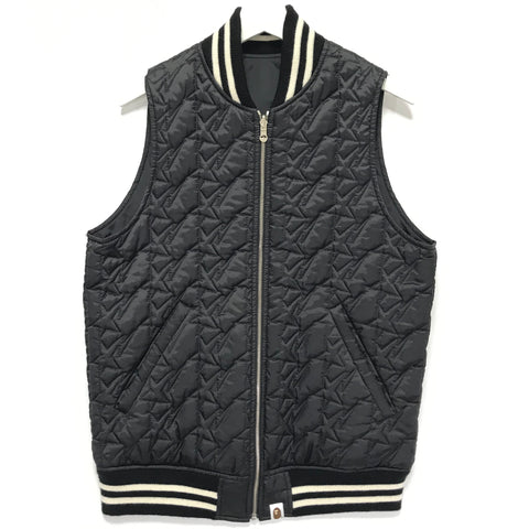 [M] A Bathing Ape Bape Sta Quilted Reversible Vest Black