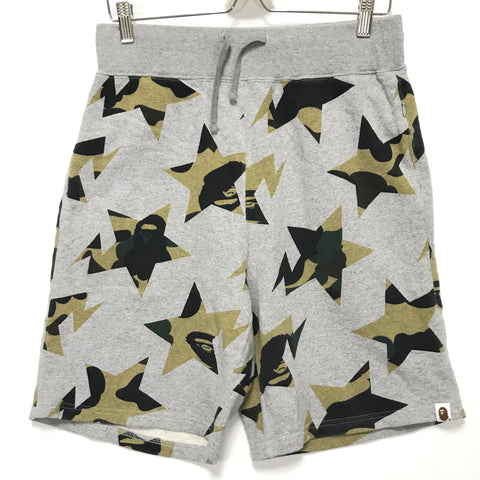 [L] A Bathing Ape Bape 1st Camo Sta Sweat Shorts Grey