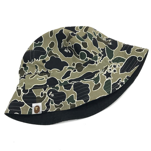 [M] A Bathing Ape Bape Vintage Sta Psyche Camo Reversible Bucket Hat Black