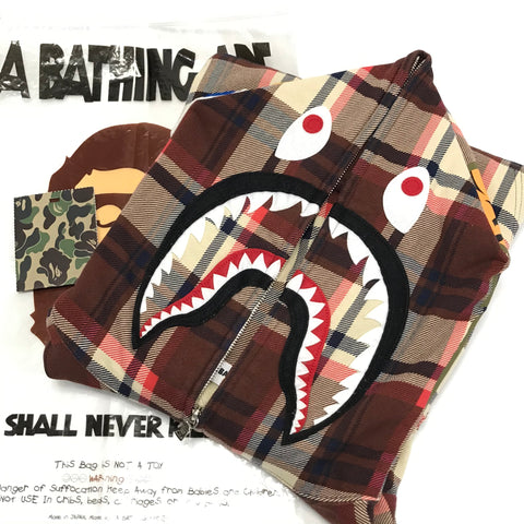 [L] A Bathing Ape Bape 15th Anniversary Plaid Ful Zip Shark Hoodie