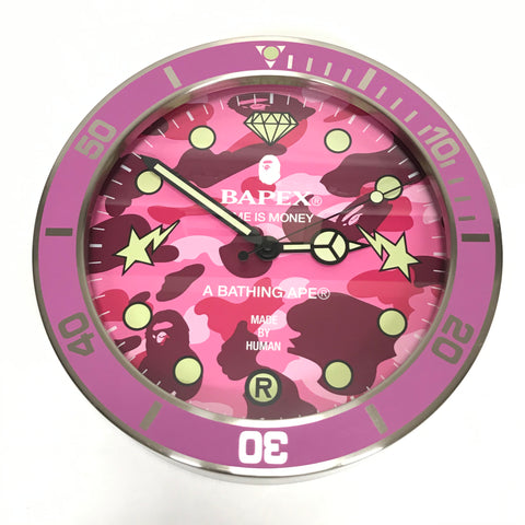 A Bathing Ape Bape Camo Wall Clock Pink