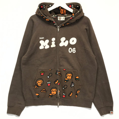 [L] A Bathing Ape Bape Baby Milo Junk Food Full Zip Hoodie Brown