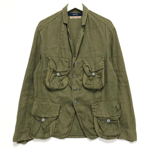 [L] Kapital Cotton Linen Herringbone Military Jacket Olive