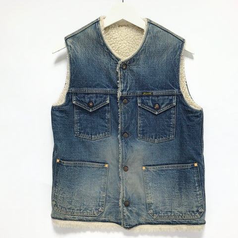 [M] Kapital Okayama Distressed Denim Boa Fleece Vest