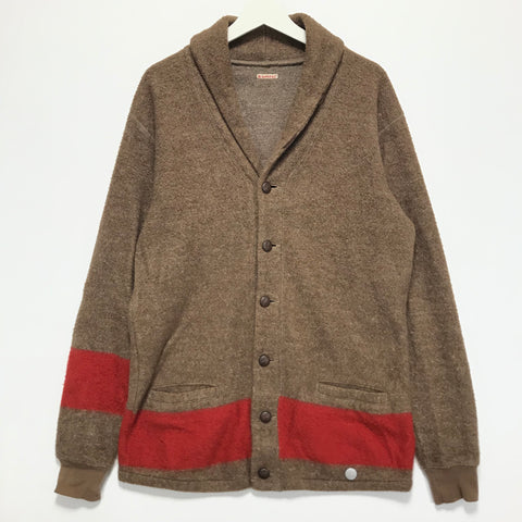 [L] Kapital Nautical Fleece Cardigan Brown