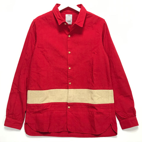 [M] Visvim 16AW LONG RIDER SHIRT KNIT BORDER L/S (OVERDYED) Red