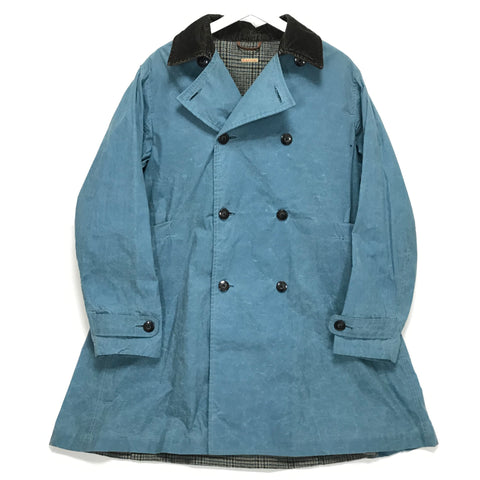 [L] Kapital Waxed Cotton Tweed Lined Trench Coat Blue