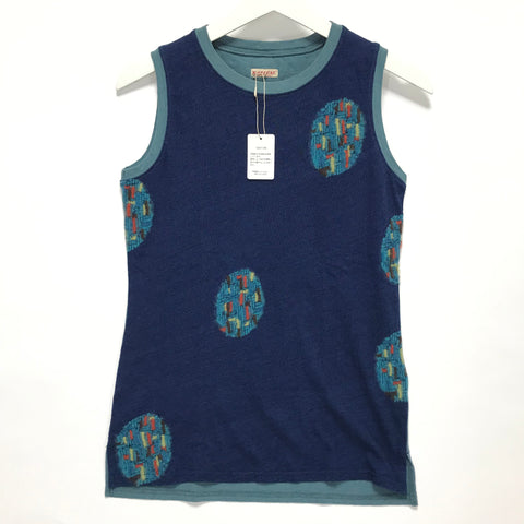 [S] DS! Kapital Indigo Dyed Knit Pattern Tank Top