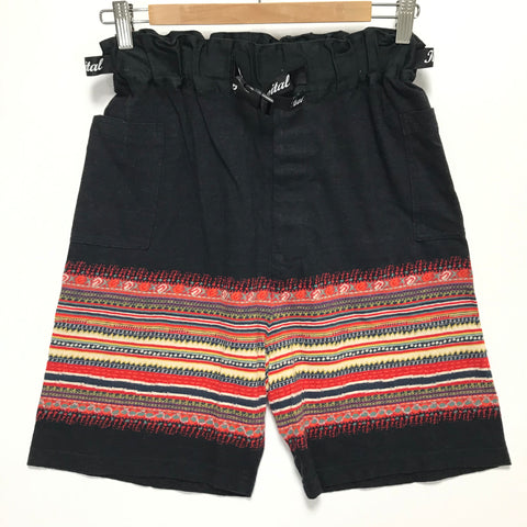 [S] DS! Kapital Stripe Pattern Belted Shorts Black