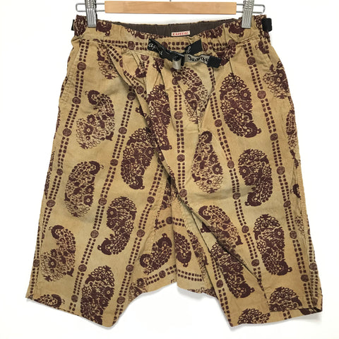 [S] DS! Kapital Paisley Corduroy Drop Crotch Belted Shorts Beige